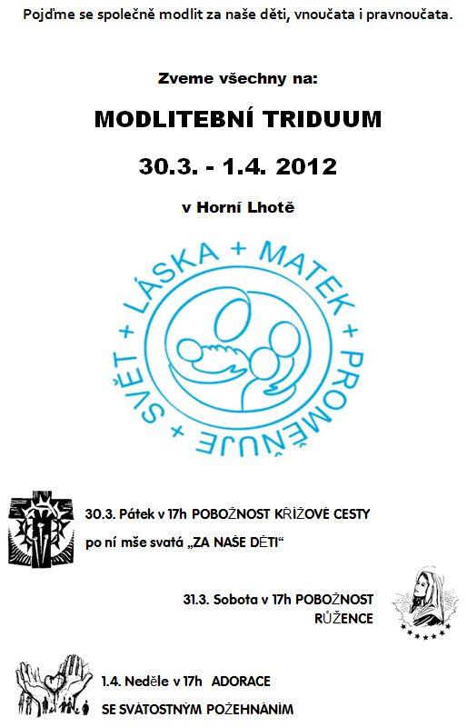 MODLITEBNÍ TRIDUUM 30.3. - 1.4. 2012